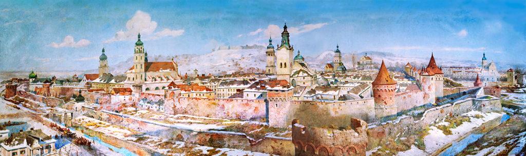 Панорама Львова, др. половина XVIII ст. (1929) Зиґмунда Розвадовського і Станіслава Яновського